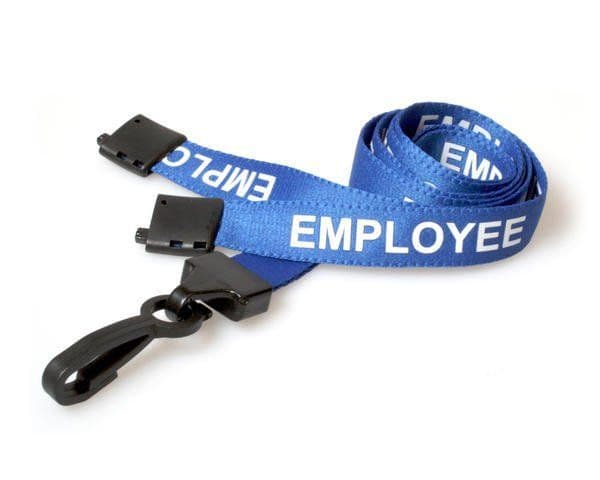 Blue EMPLOYEE lanyards with plastic hook, 25 Pack